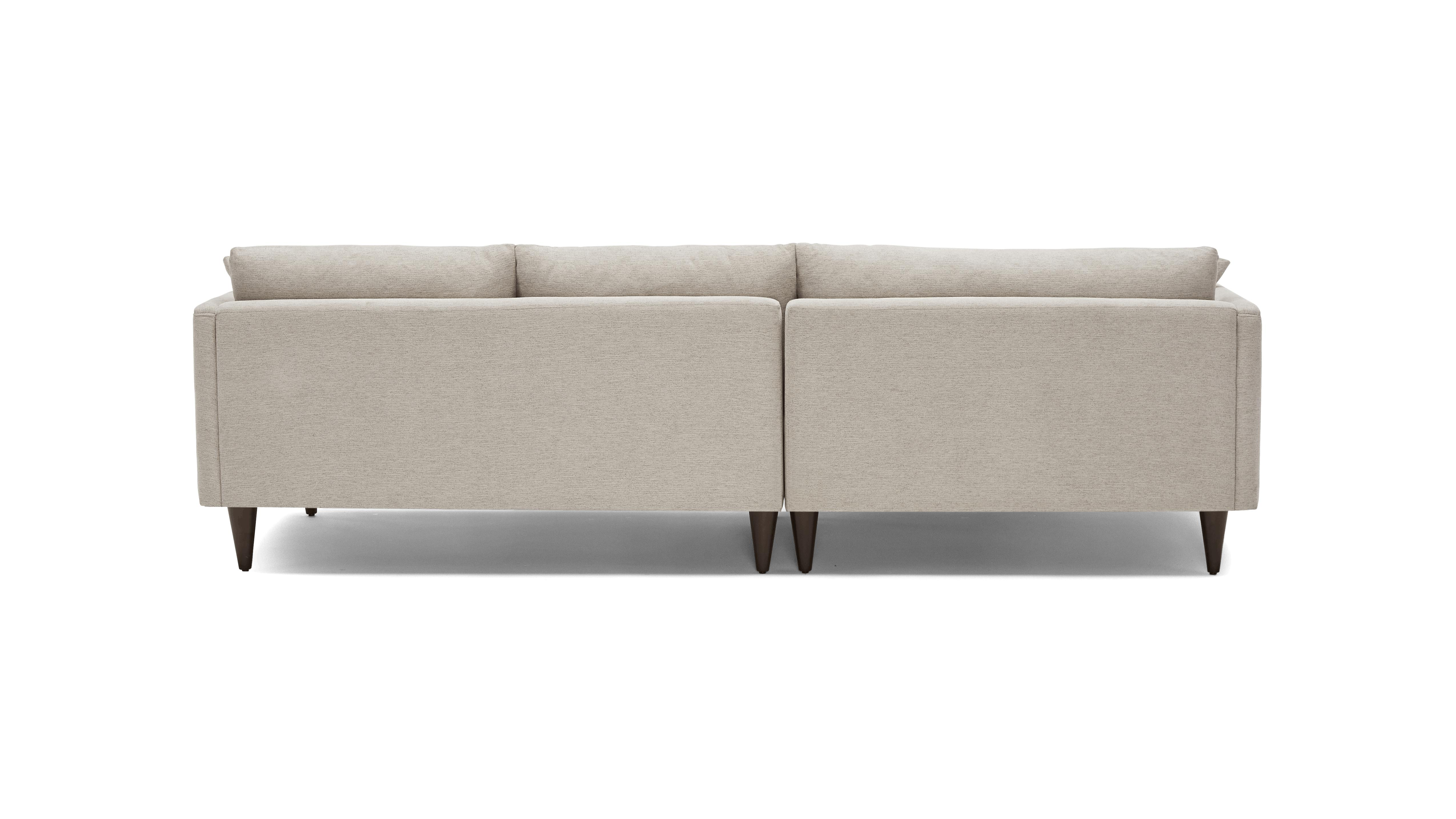 Beige/White Lewis Mid Century Modern Sectional - Merit Dove - Mocha - Right - Cone