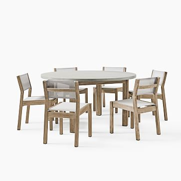 """Concrete Dining Table Concrete Top + Weathered Gray 60"""" Round Dining Table"""