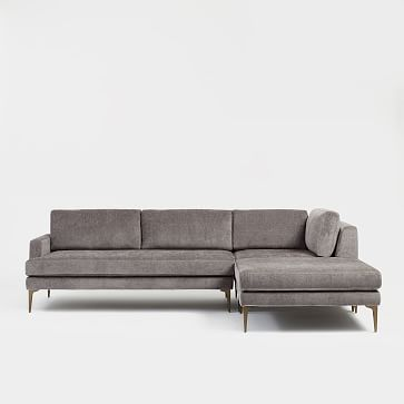 Andes Sectional Set 04: Left Arm 2 Seater Sofa, Corner, Ottoman, Poly , Twill, Dove, Dark Pewter