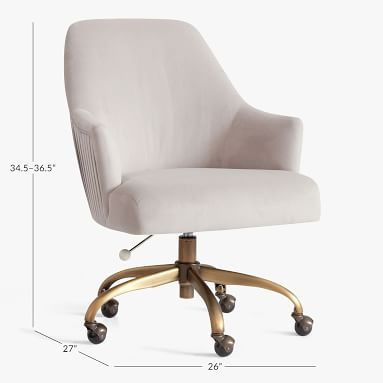 Performance Everyday Velvet Gray Pleated Swivel Desk Chair, In-Home Delivery