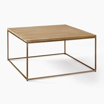Streamline Square Coffee Table, Winter Wood, Antique Bronze