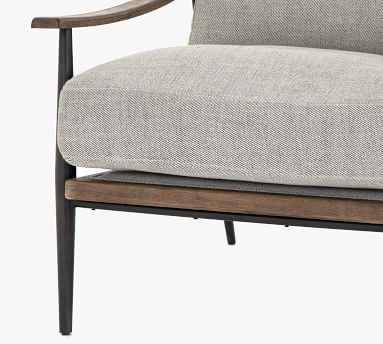Lakeport Upholstered Armchair, Distressed Natural