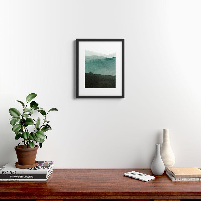 """Valleys Deep Mountains High by Iris Lehnhardt - Modern Framed Art Print Black 16"""" x 20"""""""