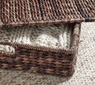 Seagrass Lidded Underbed Basket, Havana Oak
