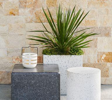 Mason Ceramic Lantern, Graphite Gray, Large