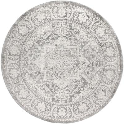 "JONATHAN Y Modern Persian Vintage Medallion Light Grey 6'7"" Round Area Rug, Light Gray"