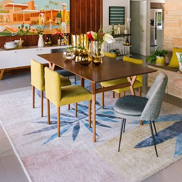 Ellis Upholstered Dining Chair, Indigo, Pecan, Set of 2
