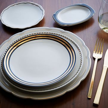 Fishs Eddy Side Plate, Black + Gold Thick Striped Band, Set of 4