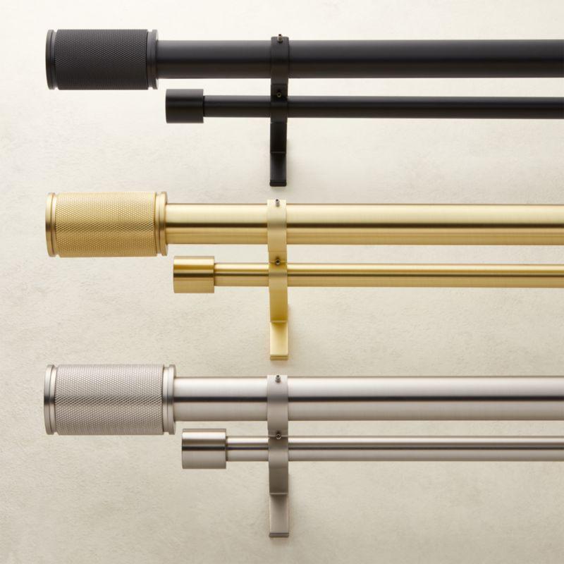 "Matte Black Amp Finial Double Rod Curtain Rod Set 88""-120"""