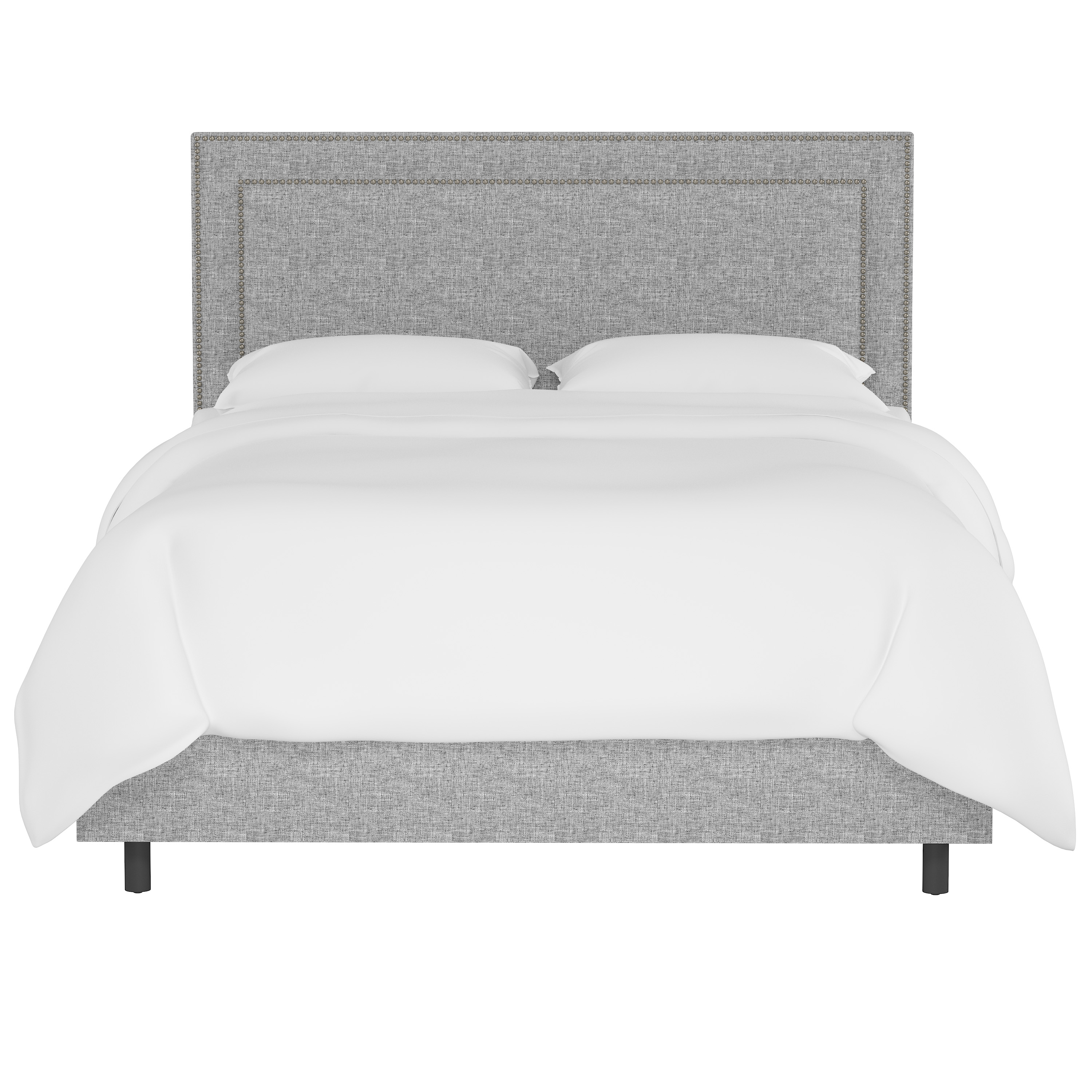 King Williams Bed in Pumice, Pewter Nailheads