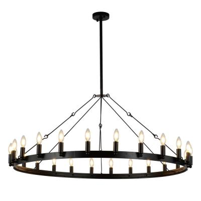 YZZY Vintage 24-Light Black Candle Style Wagon Wheel Chandelier