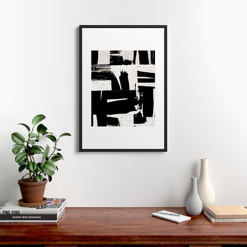 "Wabi Sabi 1602 by Iris Lehnhardt, Modern Framed Art Print Black 24"" x 36"""