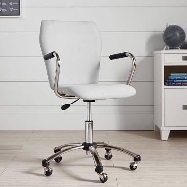 Twill Airgo Armless Swivel Desk Chair, Navy