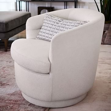 Viv Swivel Chair, Performance Coastal Linen, Midnight