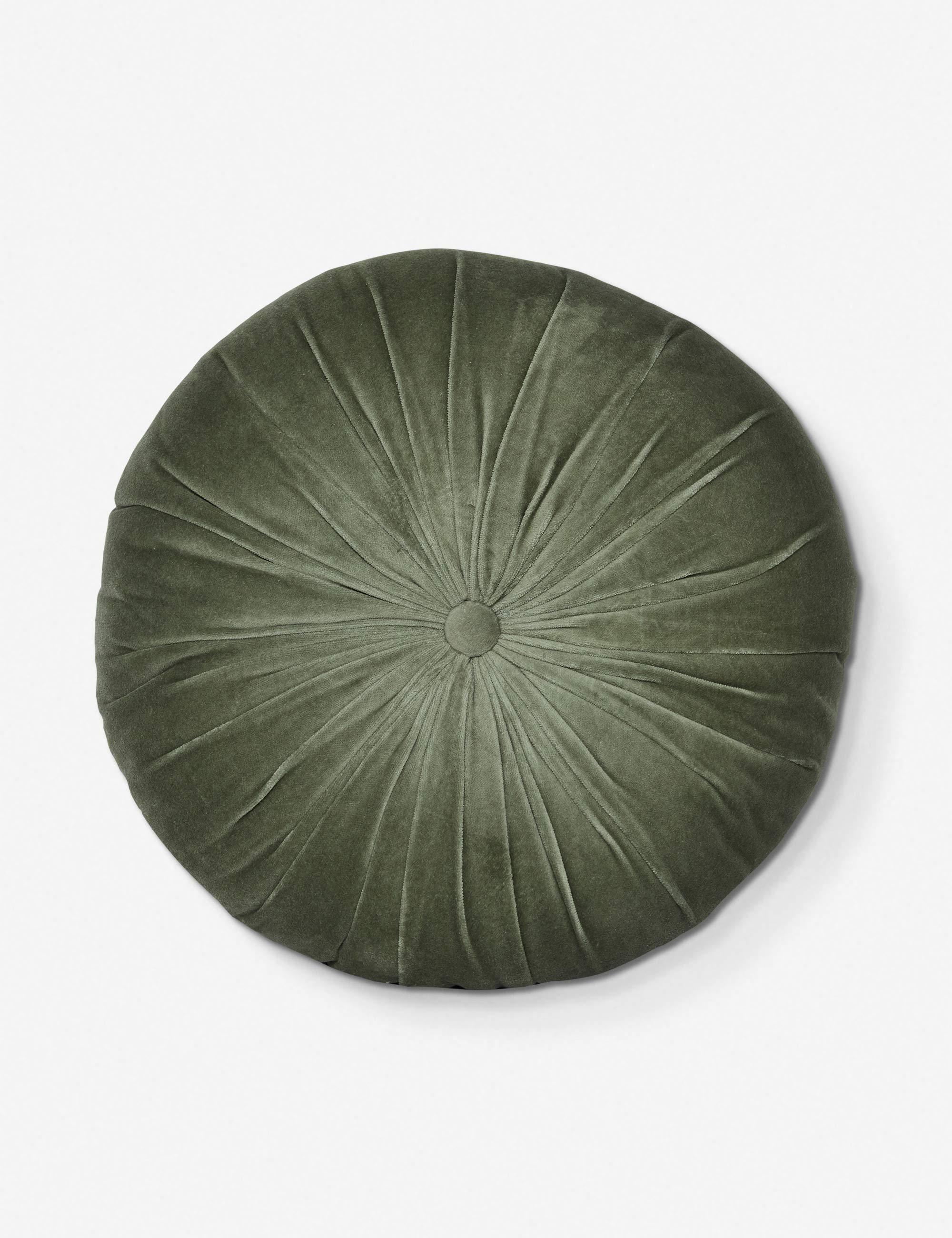 Monroe Velvet Round Pillow, Moss