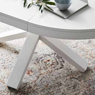 """Poppy Expandable Dining Table, Round, 42-60"""", White"""