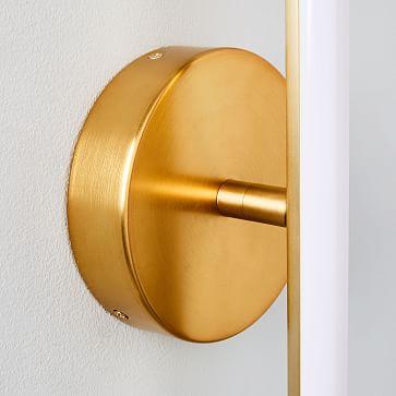 Light Rods LED Sconce, Antique Brass, Set of 2