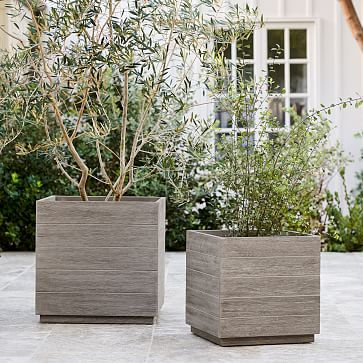 Portside Outdoor Planters, Large, Weathered Gray