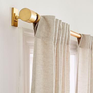 """Belgian Flax Linen & Luster Velvet Curtain, Natural & Golden Oak, 48""""x108"""""""