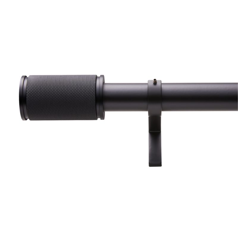 "Matte Black Amp Finial Curtain Rod Set 48""-88""x1.25""Dia."