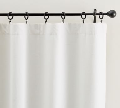 """Belgian Linen Rod Pocket Curtain with Peace & Quiet Liner, 50 x 108"""", White"""