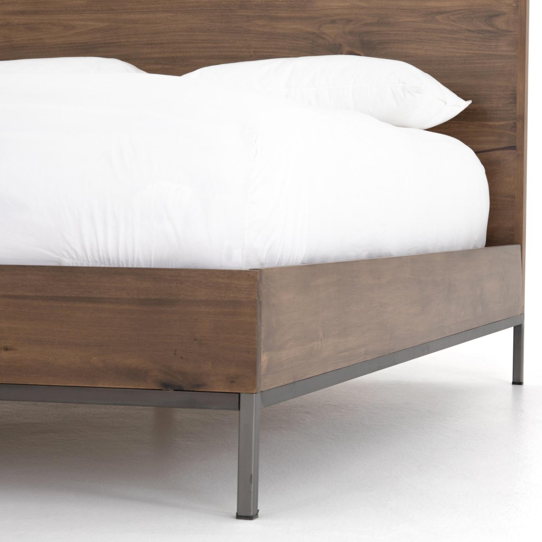 Julian Modern Classic Brown Wood Iron Frame Bed - Queen