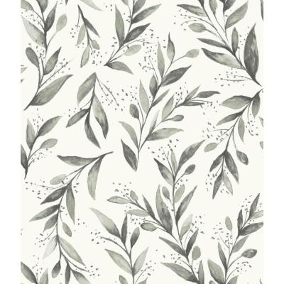 Magnolia Home by Joanna Gaines 34 sq ft Magnolia Home Olive Branch Peel and Stick Wallpaper, Grey