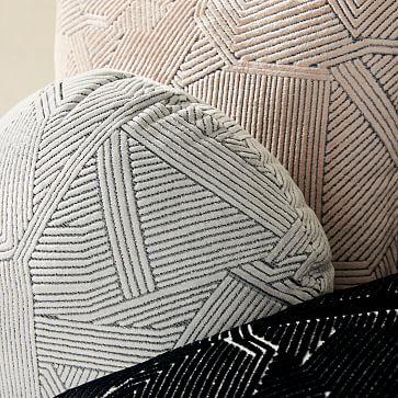 """Linear Cut Velvet Pillow Cover, 20""""x20"""", Black"""