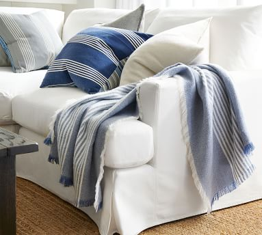 """Willa Fringe Textured Pillow Cover, 22"""", Stormy Blue"""