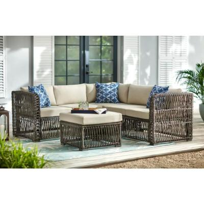 Hampton Bay Grand Isle 4-Piece Wicker Outdoor Patio Sectional Seating Set with Beige Cushions