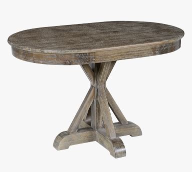 Hyeres Oval Pedestal Dining Table, Lime Wash Brown