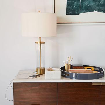 Acrylic Column Table Lamp + USB, Antique Brass, Set of 2