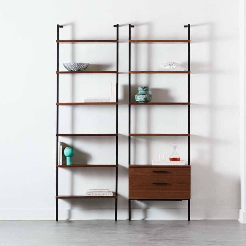 """Helix 96"""" Walnut Bookcase with 2 Drawers"""