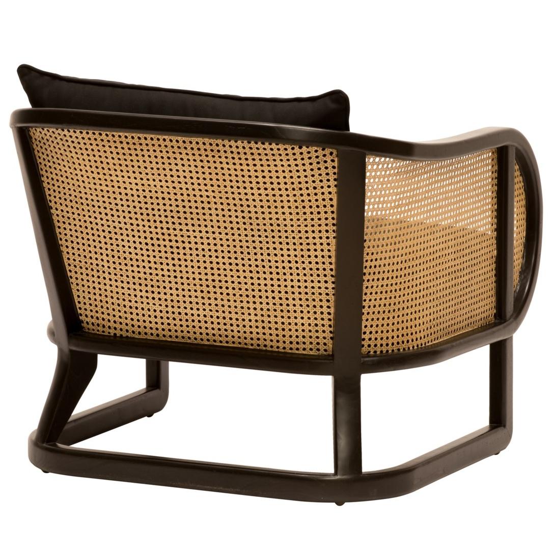 Josephine Coastal Beach Black Wood Woven Cane Arm Chair