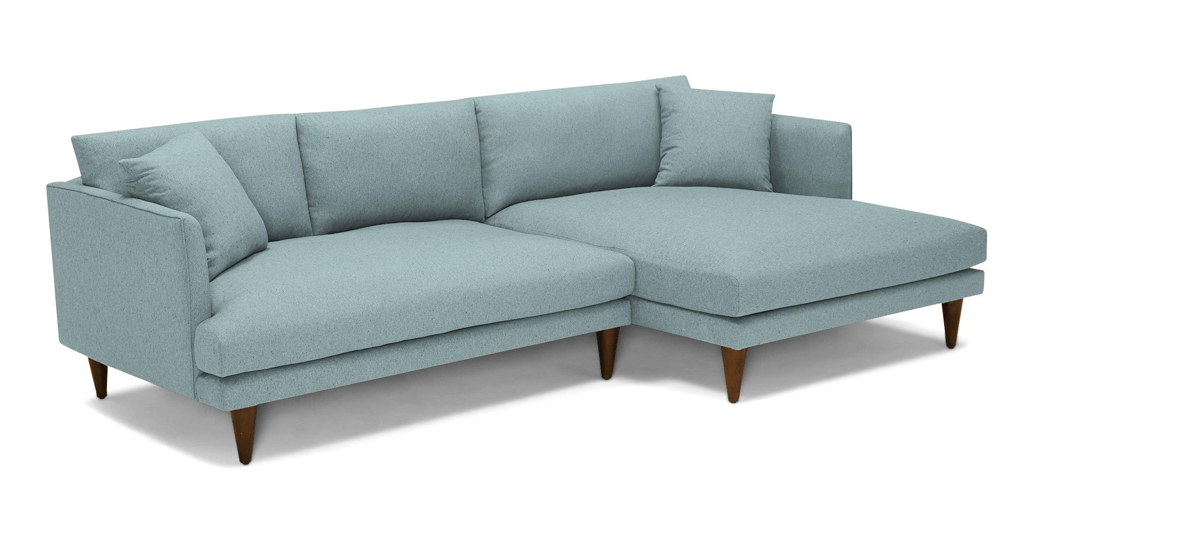 Blue Lewis Mid Century Modern Sectional - Dawson Slate - Mocha - Right - Cone