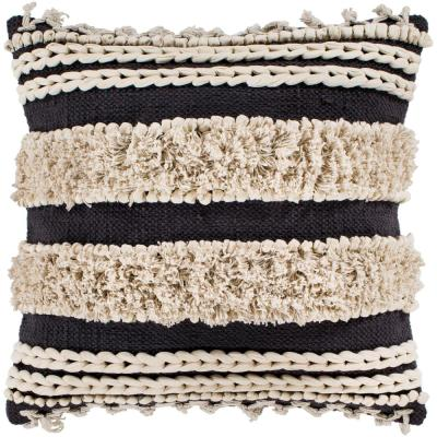 Artistic Weavers Adela Charcoal Striped Tassels Polyester 18 in. x 18 in. Throw Pillow, Grey