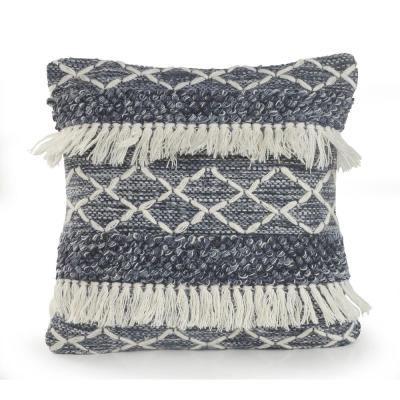LR Home 20 in. x 20 in. Fuzz Navy/Ivory Textured with Fringe Wool Standard Throw Pillow, Navy / Ivory