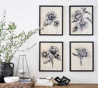 """Charcoal Sunflower Sketch, Sunflower with Stem, 28"""" x 42"""" Wood Gallery, Black, Mat"""