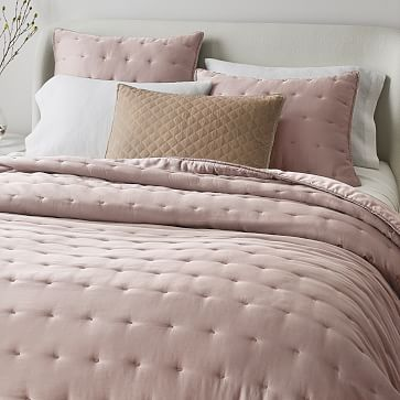 Silky TENCEL Crescent Stitch Quilt, King/Cal. King, Adobe Rose