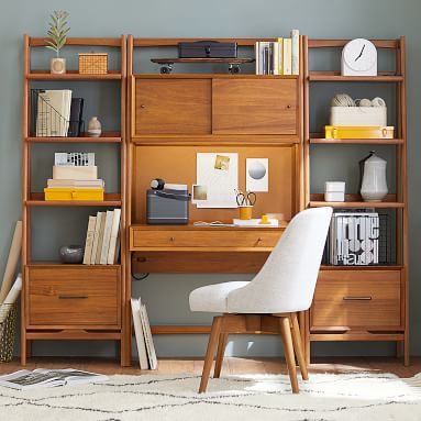 west elm x pbt Mid-Century Smart Wall Desk + Tower Bookcase, White