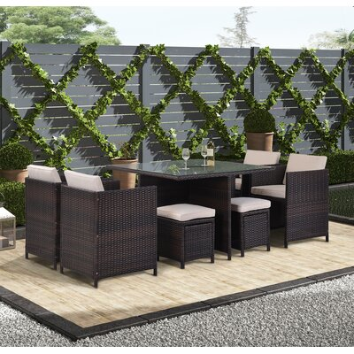 Detra 9 Piece Rattan Multiple Chairs Seating Group With Cushions Wayfair