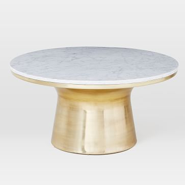 """Marble Topped Pedestal Coffee Table, 30.5"""", Marble/Antique Brass"""