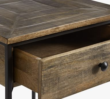 Sanford Square End Table, Cobble Brown
