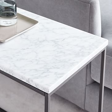 Streamline Side Table, Marble, Antique Bronze, Set of 2