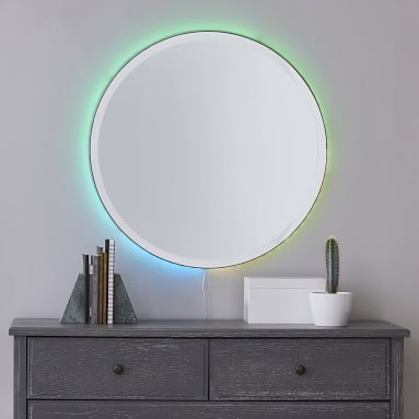 Ombre Ambient Backlit LED Mirror, Round