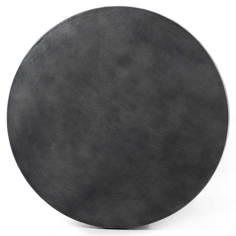 Silas Modern Classic Black Aluminum Round Drum Outdoor End Table