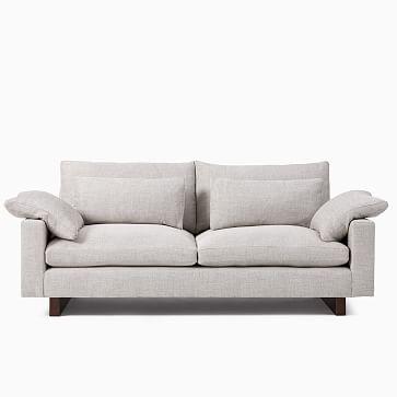 "Harmony XL 76"" Sofa, Down Blend, Distressed Velvet, Tarragon, Walnut"