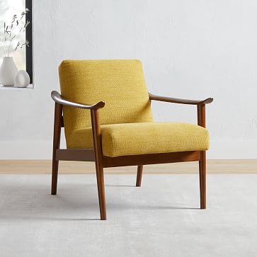 Mid-Century Show Wood Chair, Poly, Distressed Velvet, Olive, Pecan