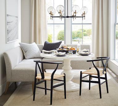 Modular Upholstered Banquette Set, Seadrift Leg, Performance Everydayvelvet(TM) Carbon