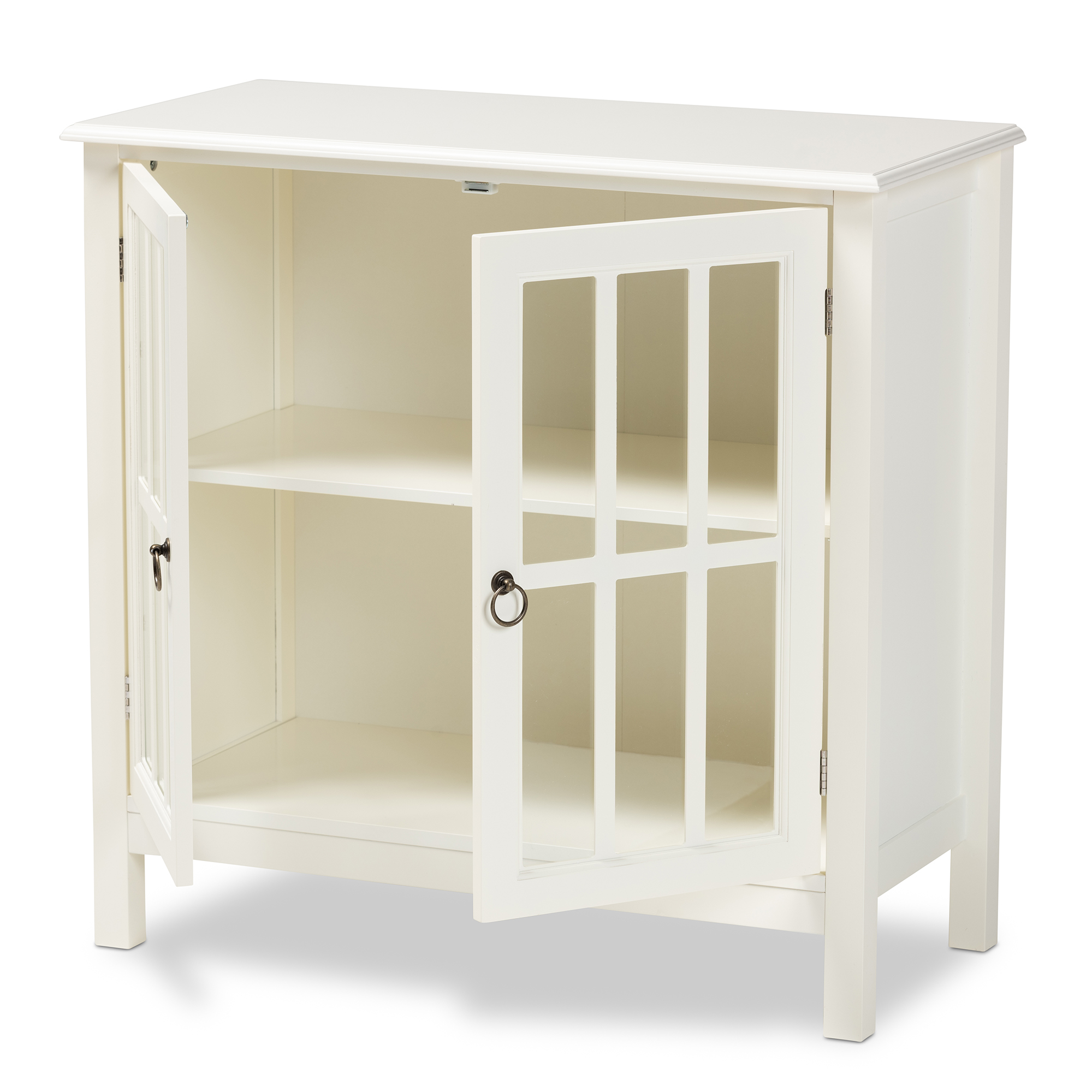Baxton Studio Kendall Classic and Traditional White Finished Wood and Glass Kitchen Storage Cabinet